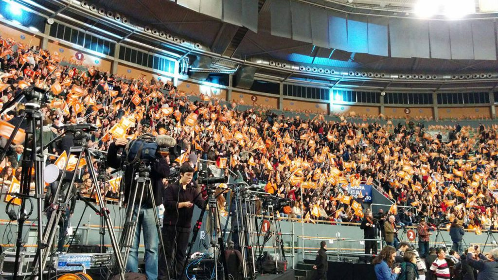 Mitin de Ciudadanos en las elecciones generales del 20D, en el Palacio de Vistalegre de Madrid. Foto: rtve.es